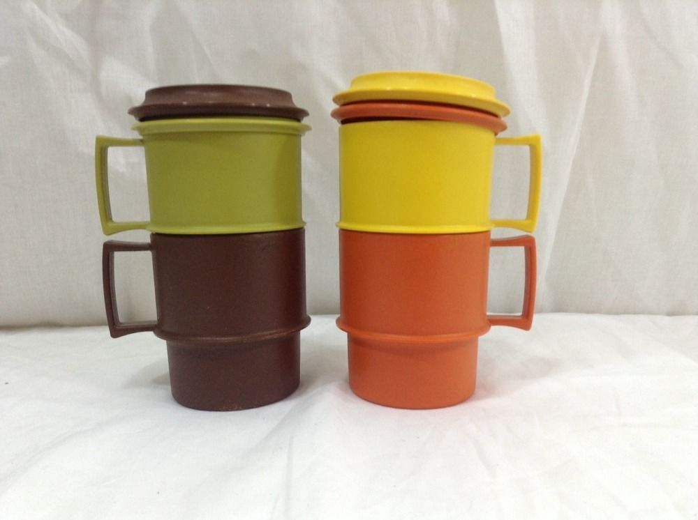 Vtg Set 4 Tupperware Coffee Cup Mugs Stackable Amp Coaster