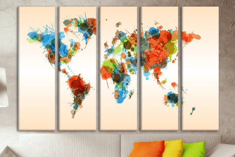 World map poster kids extra large kids wall art large atlas prints world map poster kids extra large kids wall art large atlas prints map canvas giant canvas watercolor world map wall decor world map colored gumiabroncs Image collections