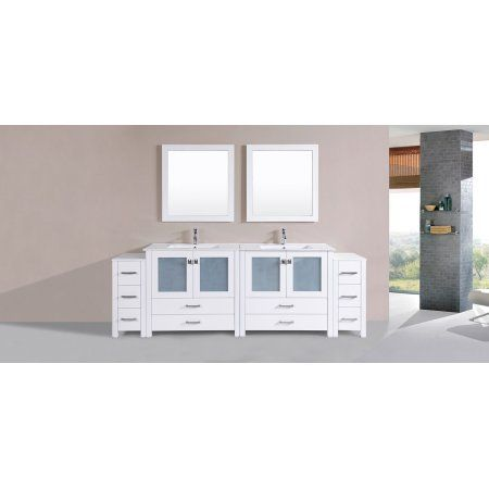96 inch Newport White Double Modern Bathroom Vanity with 2 Side