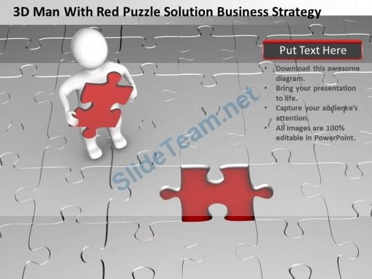 D Man With Red Puzzle Solution Business Strategy Ppt Graphic Icon
