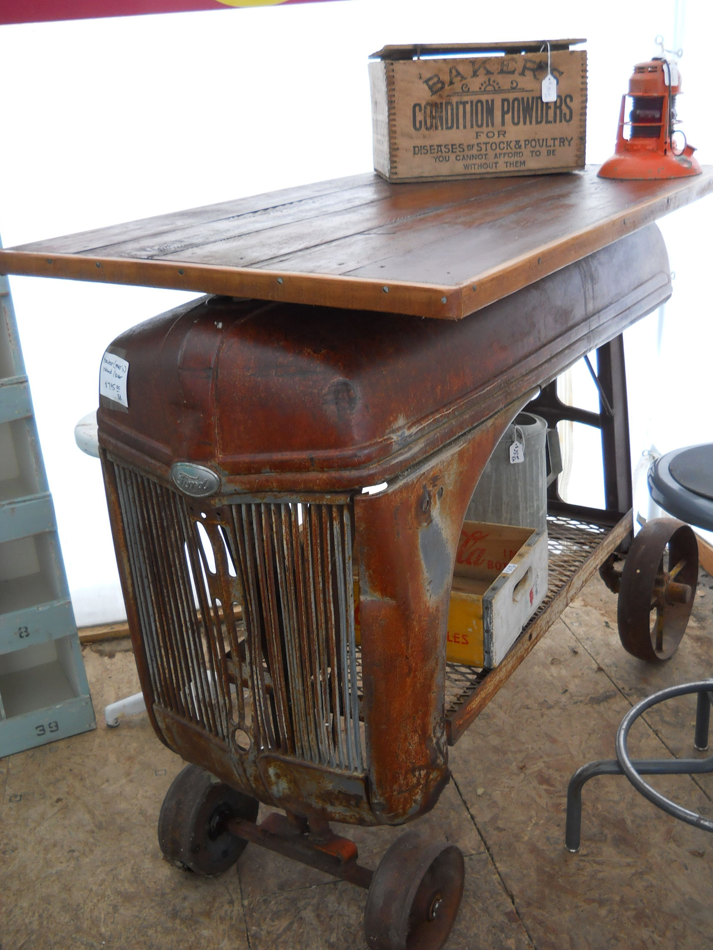 Amazing tractor kitchen island on wheels 1940 s Ford tractor hood