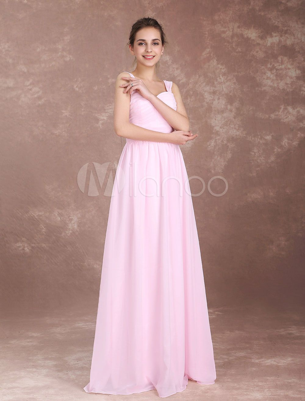Bridesmaid Dresses Soft Pink Long Wide Straps Pleated Chiffon Sweetheart Neckline Floor Length Prom Dress