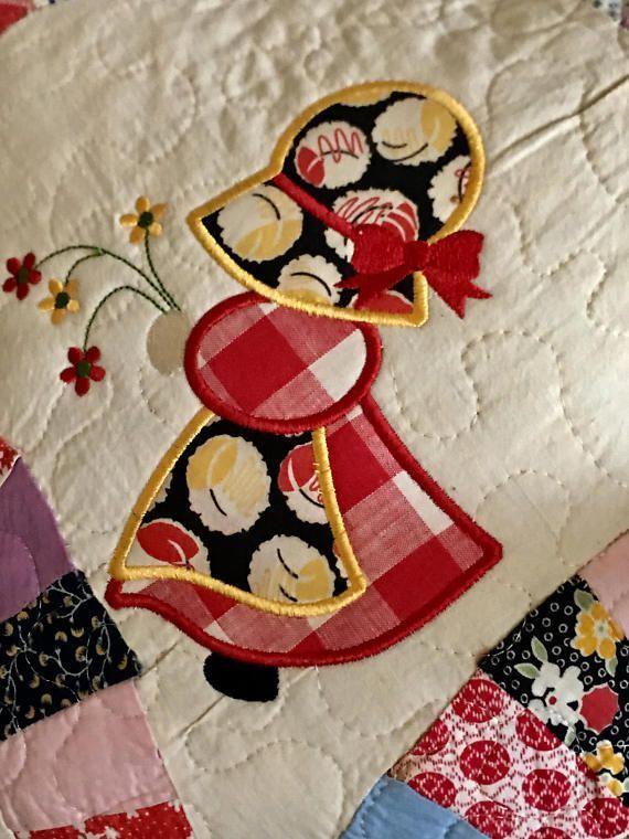 Vintage Quilted Pillow. . . Appliqué SUN BONNET SUE . . . Double Wedding Ring Pattern . . . 14 Decorative Pillow #sunbonnetsue Vintage Quilted Pillow. . . Appliqué  SUN BONNET SUE . . . #sunbonnetsue Vintage Quilted Pillow. . . Appliqué SUN BONNET SUE . . . Double Wedding Ring Pattern . . . 14 Decorative Pillow #sunbonnetsue Vintage Quilted Pillow. . . Appliqué  SUN BONNET SUE . . . #sunbonnetsue