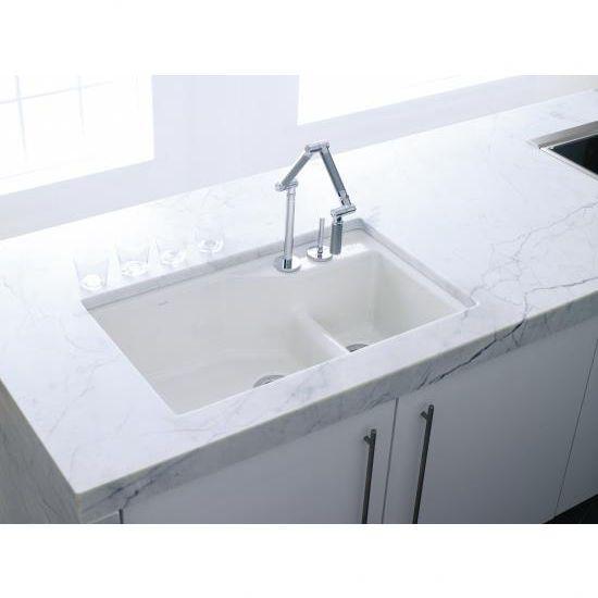 Beau Kohler Indio Undermount Single Hole Offset Double Bowl Kitchen Sink
