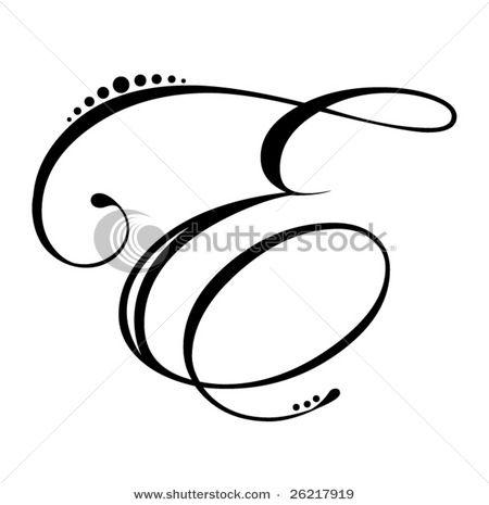 Letter E Script Stock Vector 26217919 Shutterstock E Tattoo Tattoo Lettering Tattoo Lettering Fonts