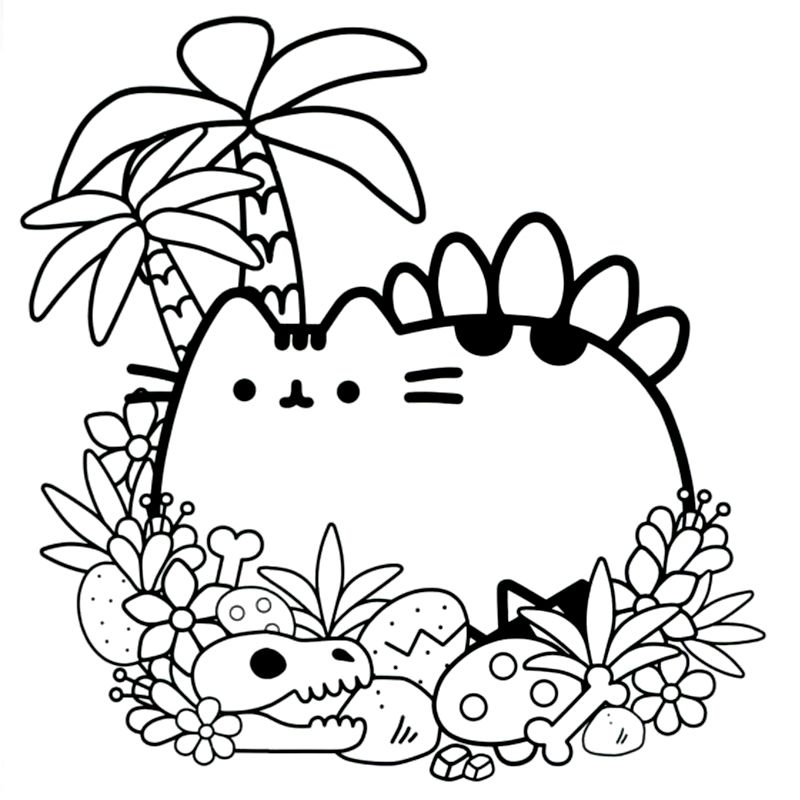 Cb Pusheen Dinosaur Coloring Pages Unicorn Coloring Pages Cat Coloring Page