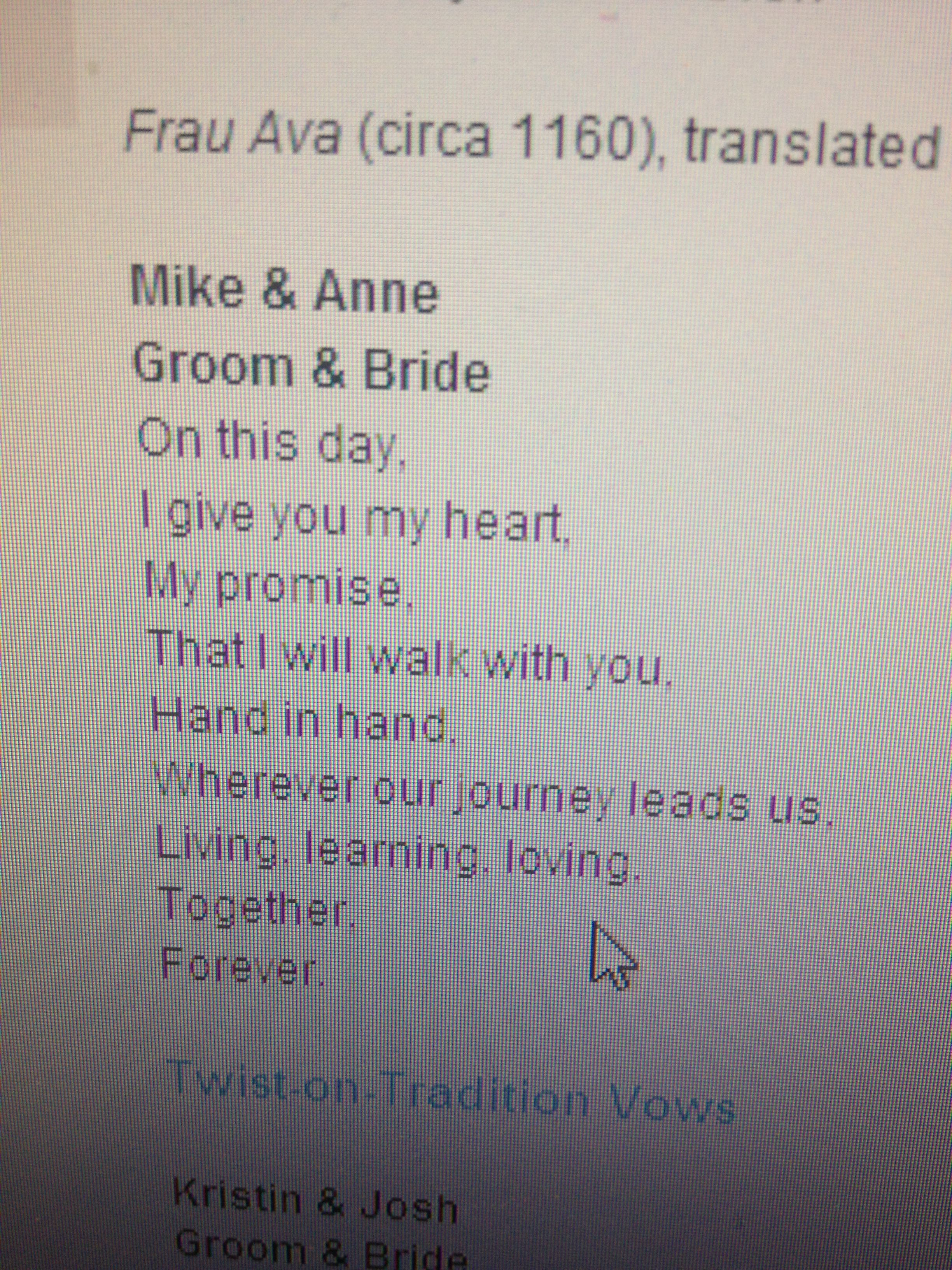 Short And Sweet Wedding Vows