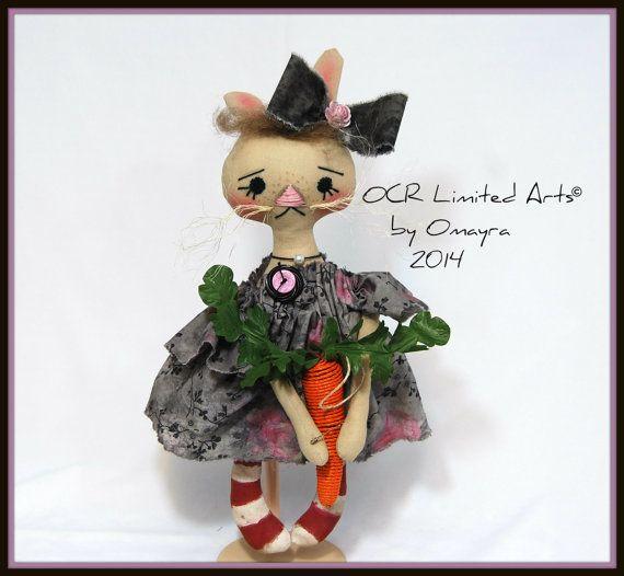 Pearl Bunny Art  Doll Easter OOak home decor by OCRLimitedArts, $45.00