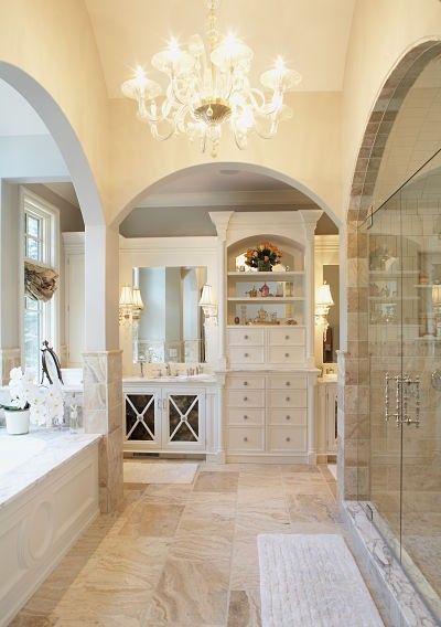 Master bath idea. Bathroom idea. Jet tub. Separate shower double vanity. Built ins. Storage. Cabinets. Drawers. Tile. Luxury bath. Home ideas.