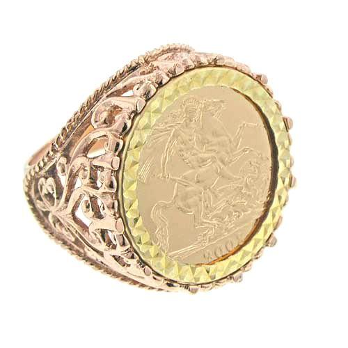 Rose Gold Jewelry for Men   9ct Rose Gold Filigree Design Full Sovereign Ring - Mens Rings - Gold ...