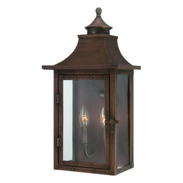 Acclaim Lighting St Charles Collection Wall Mount 2 Light Outdoor Copper Patina Wall Lantern Sconce 8312cp The Home Depot Outdoor Wall Mounted Lighting Wall Mount Light Fixture Wall Lantern