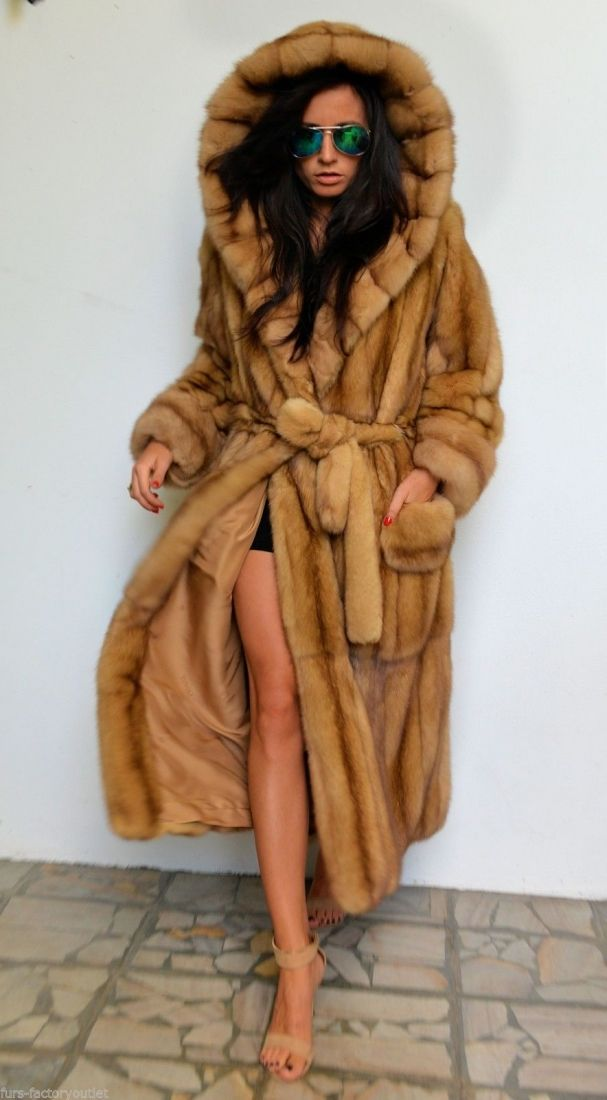 sable furs - gold russian sable long fur coat with big hood | Fur ...