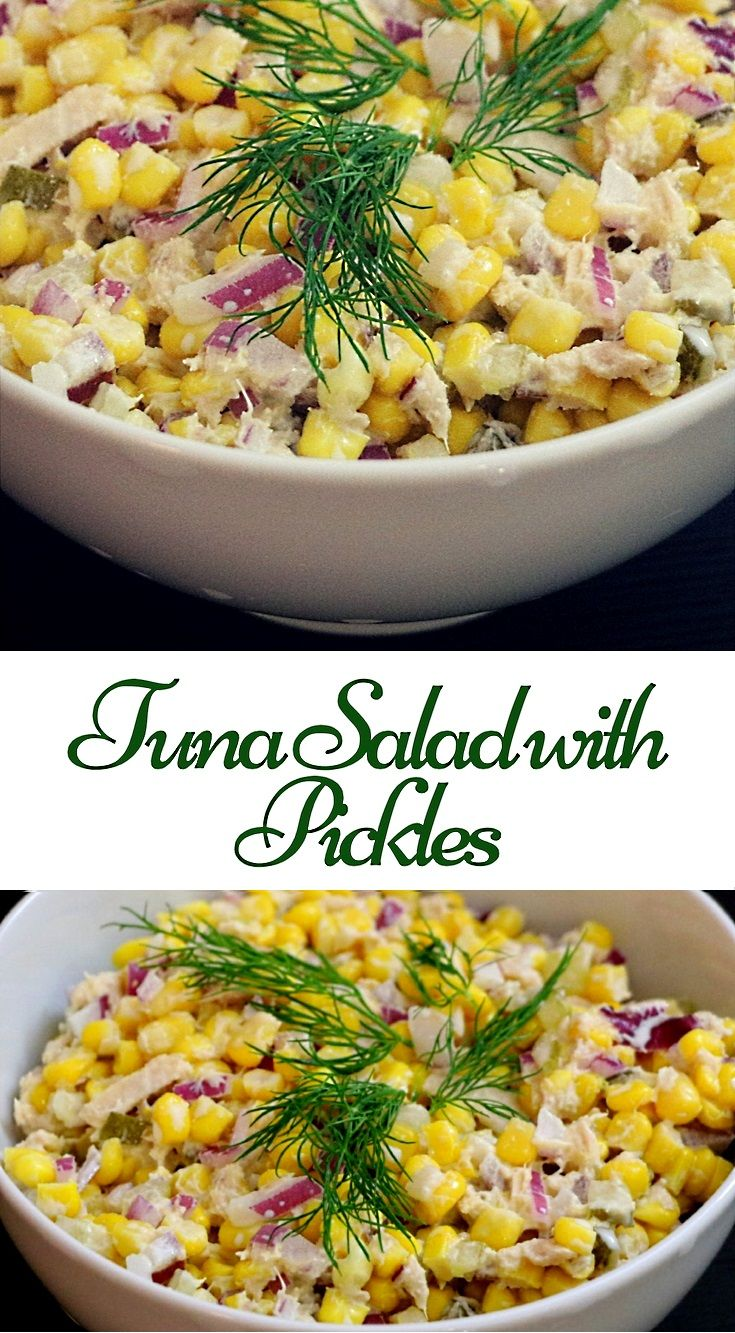 Tuna salad with pickles easy to prepare. Main ingredients of salad are tuna, pickles, corn.