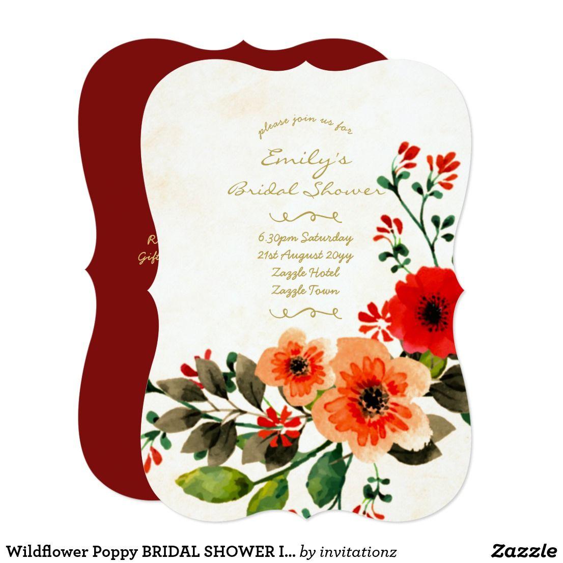 Wildflower Poppy BRIDAL SHOWER Invitations 2 | Trending Wedding ...