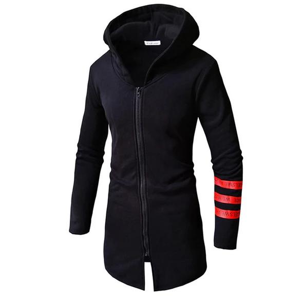 Men Autumn Winter Casual Warm Stripe Sleeve Zipper Hooded Long Jacket Coat