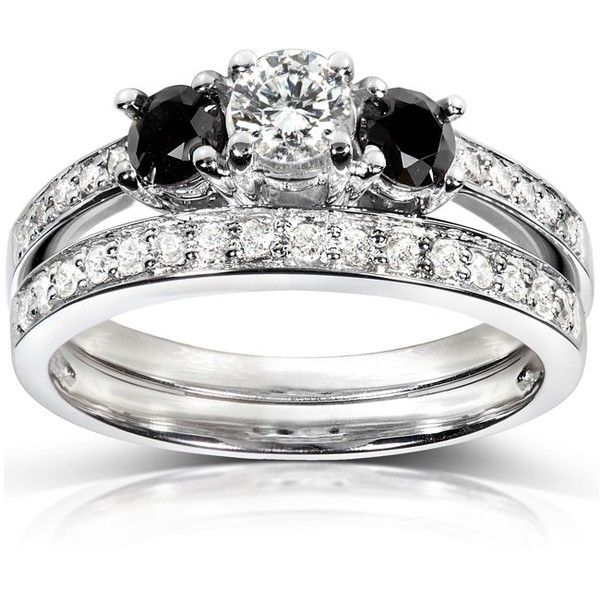 Black and White Diamond Wedding Set 3/4 carat (ctw) in 14K White Gold ($985) ❤ liked on Polyvore featuring jewelry, rings, 14k engagement ring, black and white diamond ring, white gold engagement rings, bridal rings and white gold diamond ring