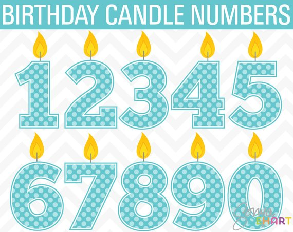 Clipart Birthday Cake Candle Polka Dot Numbers Commercial Use