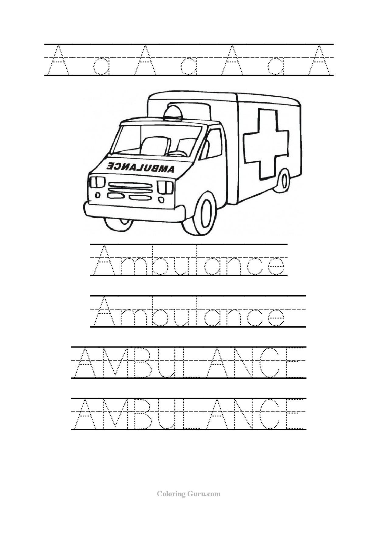 Tracing Word Ambulance Worksheets For Preschool