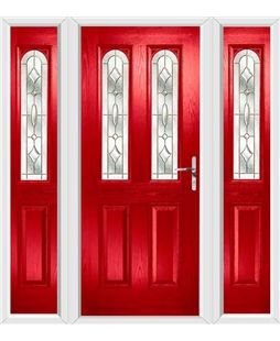 The Aberdeen Composite Door in Red with Brass Art Clarity and ...
