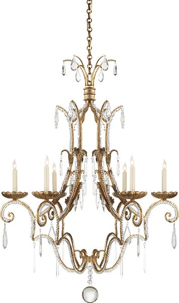 Feminine Crystal And Brass Chandelier Visual Comfort Lighting