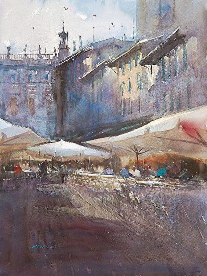 Evening Verona Italy I Paysage Urbain Art Aquarelle Peinture
