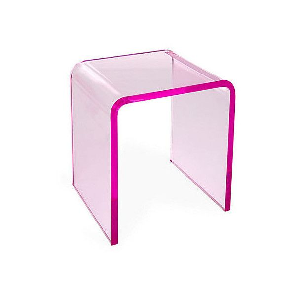 One Kings Lane Waterfall Side Table Pink Acrylic Lucite Standard