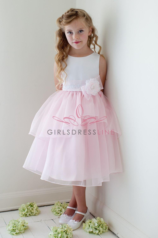 Whitepink Satin Top Organza Layered Flower Girl Dress Jd1226 Wp