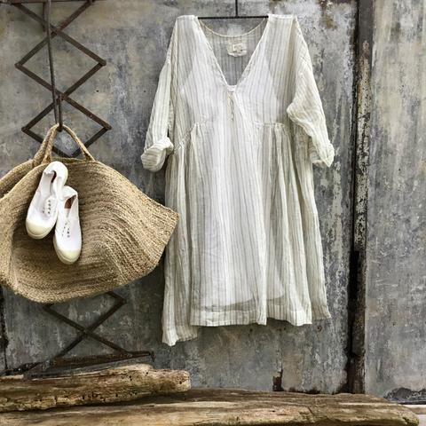 ddfcad00492 Merci Linen Dress - Grey and White Gauze Ticking