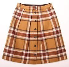 (Sz 00) $148 J.Crew double serged 'Flair' pleated button down brown plaid skirt
