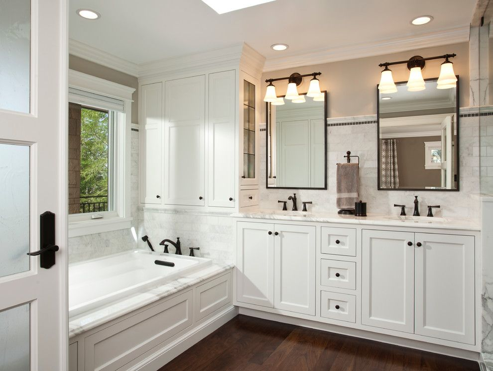 Oil Rubbed Bronze Door S Bathroom Traditional With Recessed Lighting Rectangular Mirror Tri Sconce Two