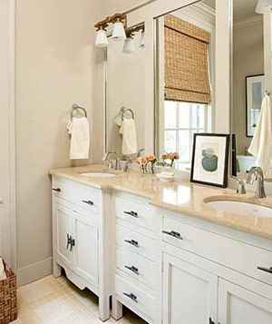 For My Bathroom...The Beauty In This Bathroom Is Its Natural Simplicity. White  CabinetsCream ...