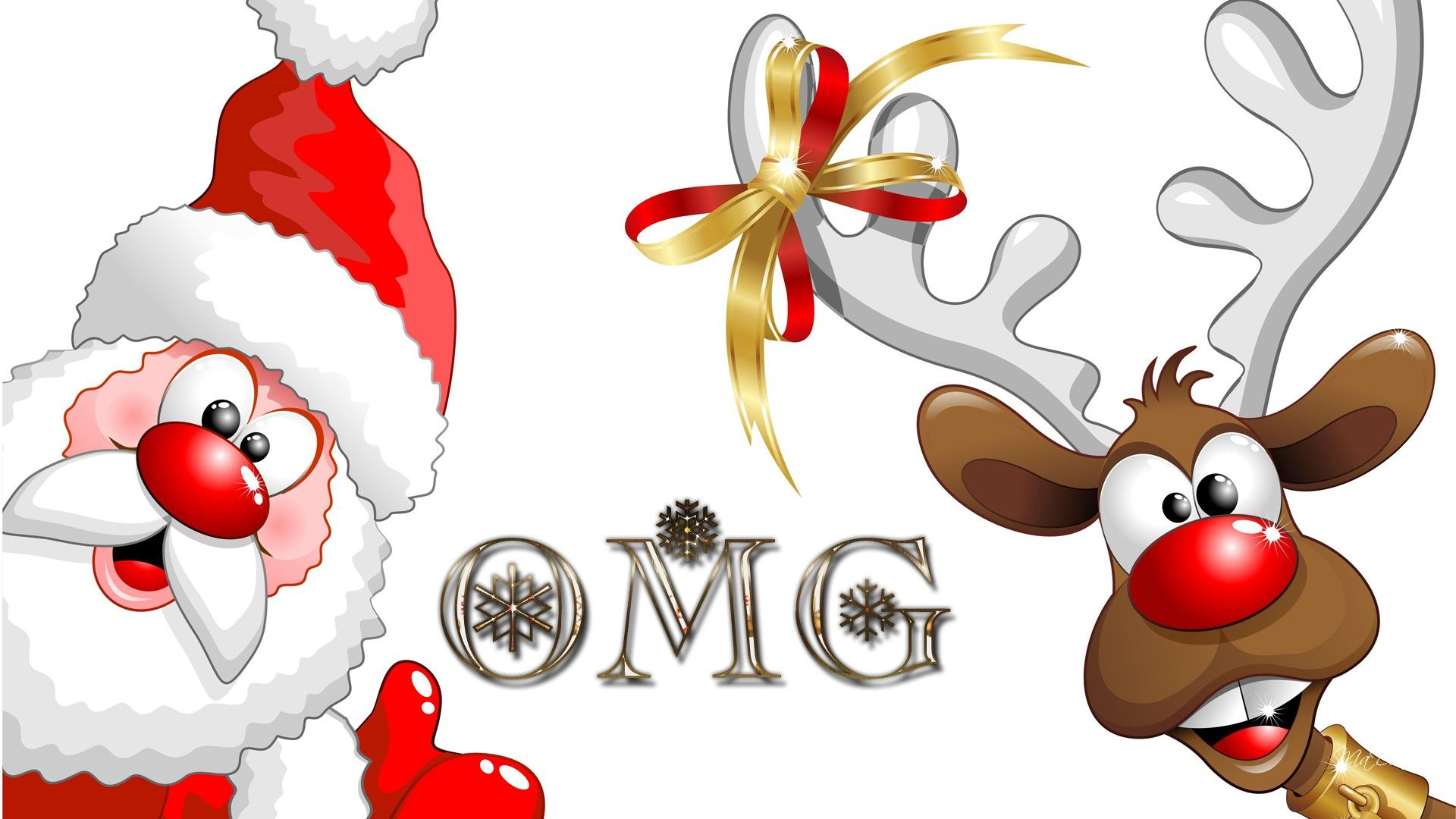 Surprised Santa Amd Rudolph wallpaper free Merry