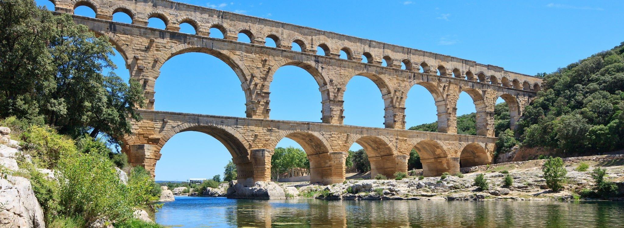 The famous Roman aqueduct the Pont du Gard Ancient Structures