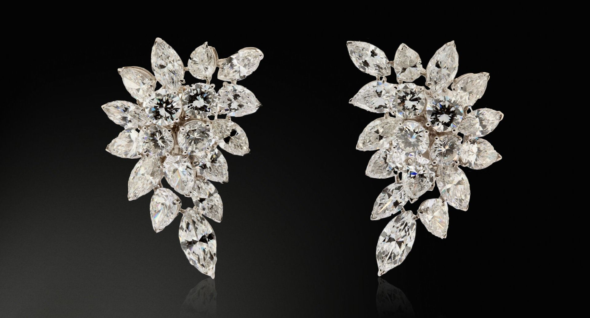 Van Cleef & Arpels white marquise- cut diamonds earrings