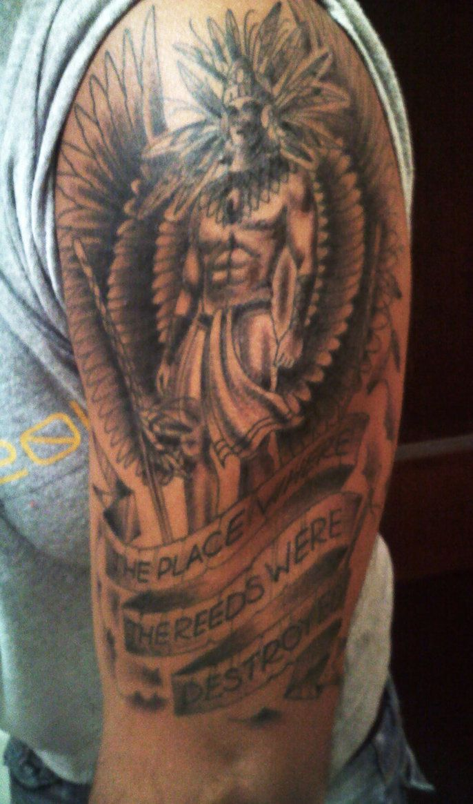Indian with eagle and wolf tattoo on shoulder tattooimages biz - Tattoo