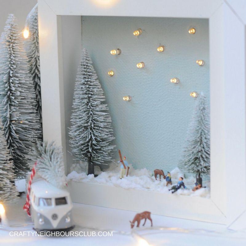 Winterlandschaft im bilderrahmen ein diy im winter crafty neighbours club - Weihnachtsdeko kinderzimmer ...