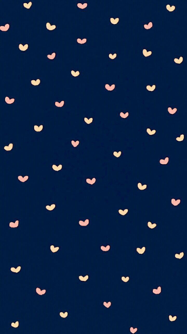 ネイビーがかわいいハート のiphone壁紙 Wallpaper Iphone Cute