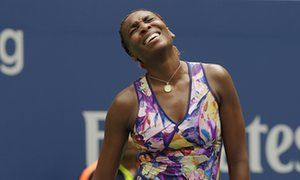 Venus Williams reacts after losing a point to Karolina Pliskova