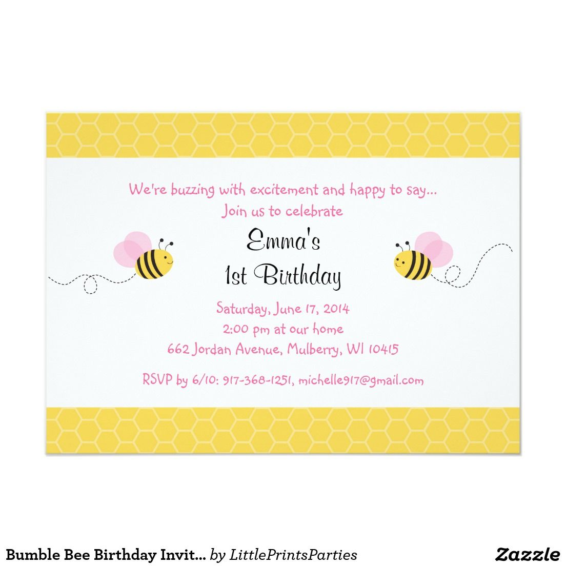 Bumble Bee Birthday Invitations | Olivia turns 1 | Pinterest ...