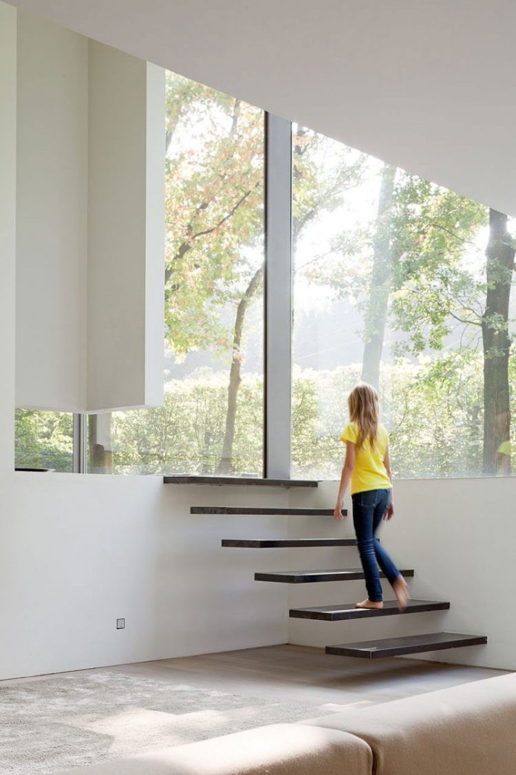 Escalier Droit Sans Rampe dedans escalier droit à marches suspendues sans rampe de design minimaliste