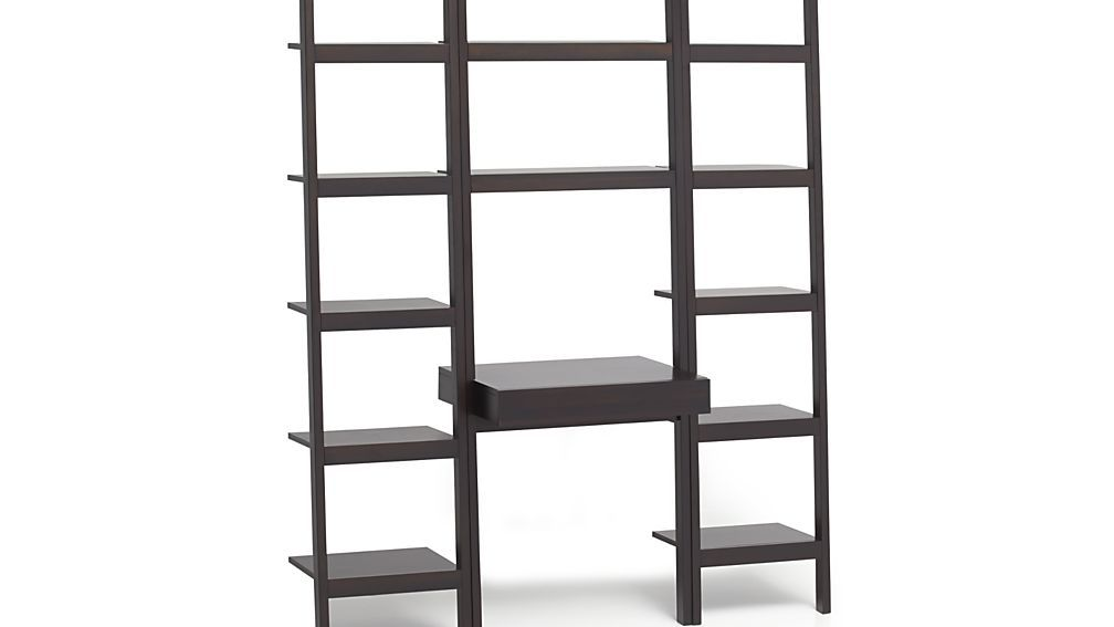 Sawyer Mocha Leaning Desk With Two 18 Bookcases