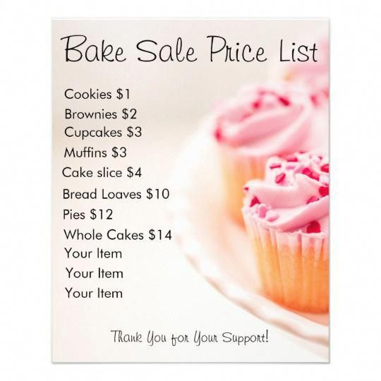 Bake Sale Price List Pink Cupcakes Flyer | Zazzle.com