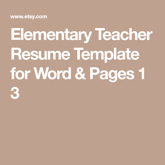 Elementary Teacher Resume Template For Word  Pages