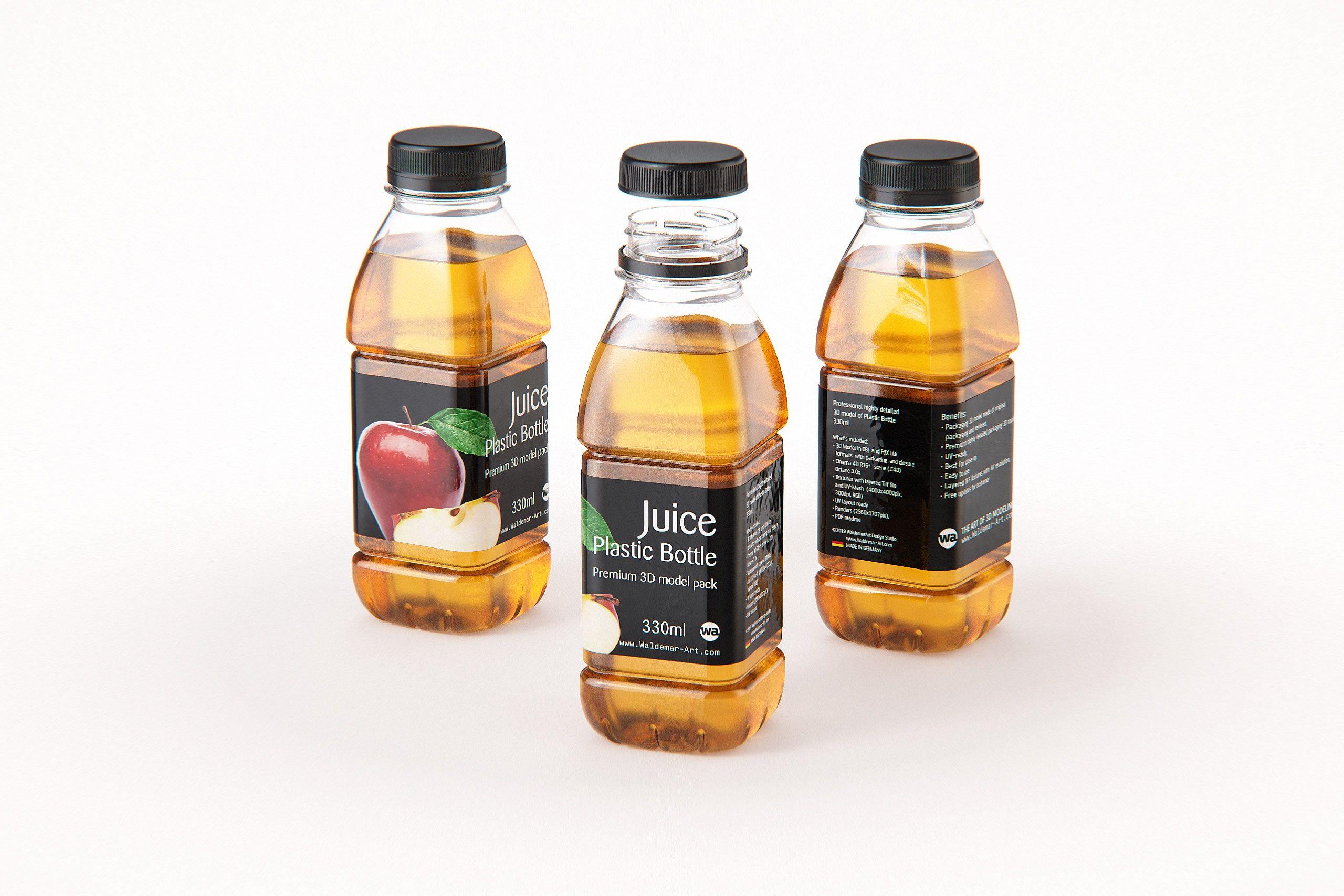 Juice Plastic Bottle 330ml Premium 3D model pack in 2020