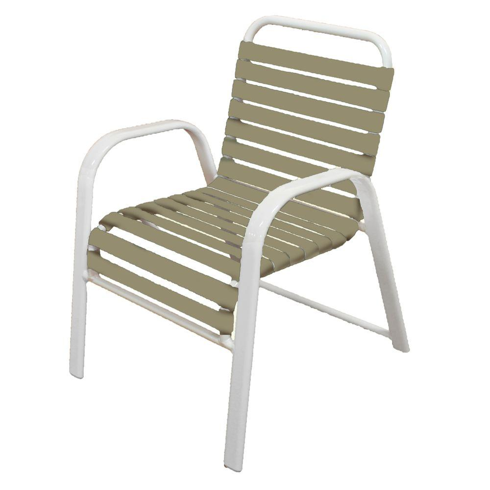 Marco Island White Commercial Grade Aluminum Patio Dining Chair