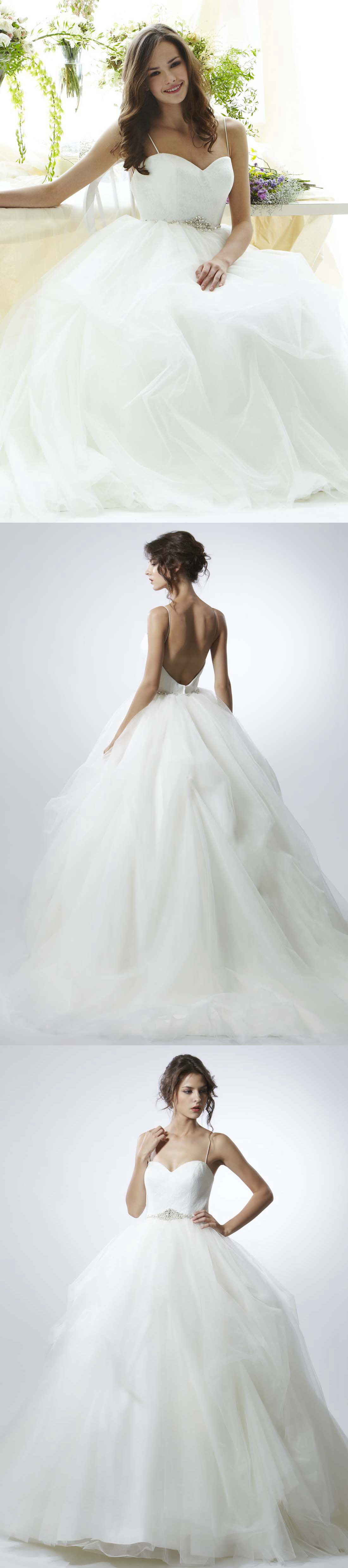Long spaghetti jeweled tulle wedding dress with sweep train and v