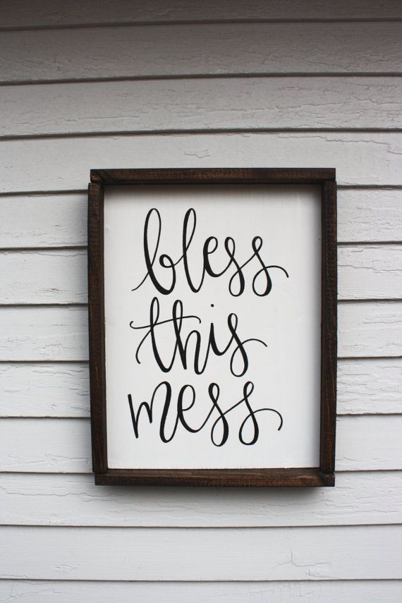 awesome Bless this Mess - Wood Sign | Custom Wood Sign | Rustic ...