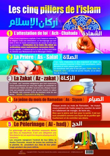 Les 5 Piliers De L'islam : piliers, l'islam, Poster, Enfants, Piliers, L'islam, (français), Objet, Décoration, Oeuvre, Artisanale, Orientica.com, Islam,