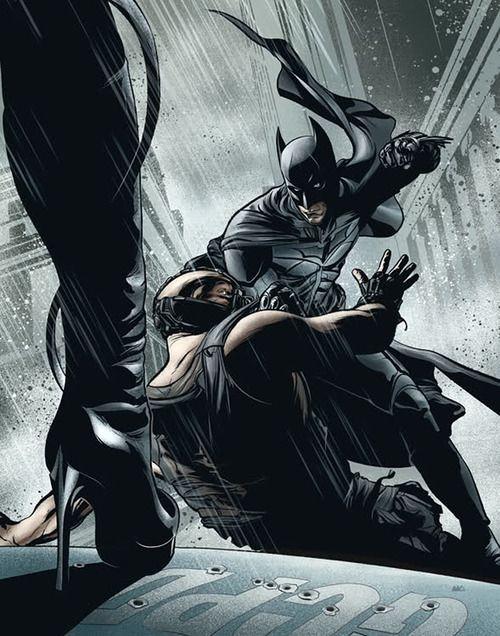 Comic book style batman vs bane with catwoman watcing on - Batman contre joker ...