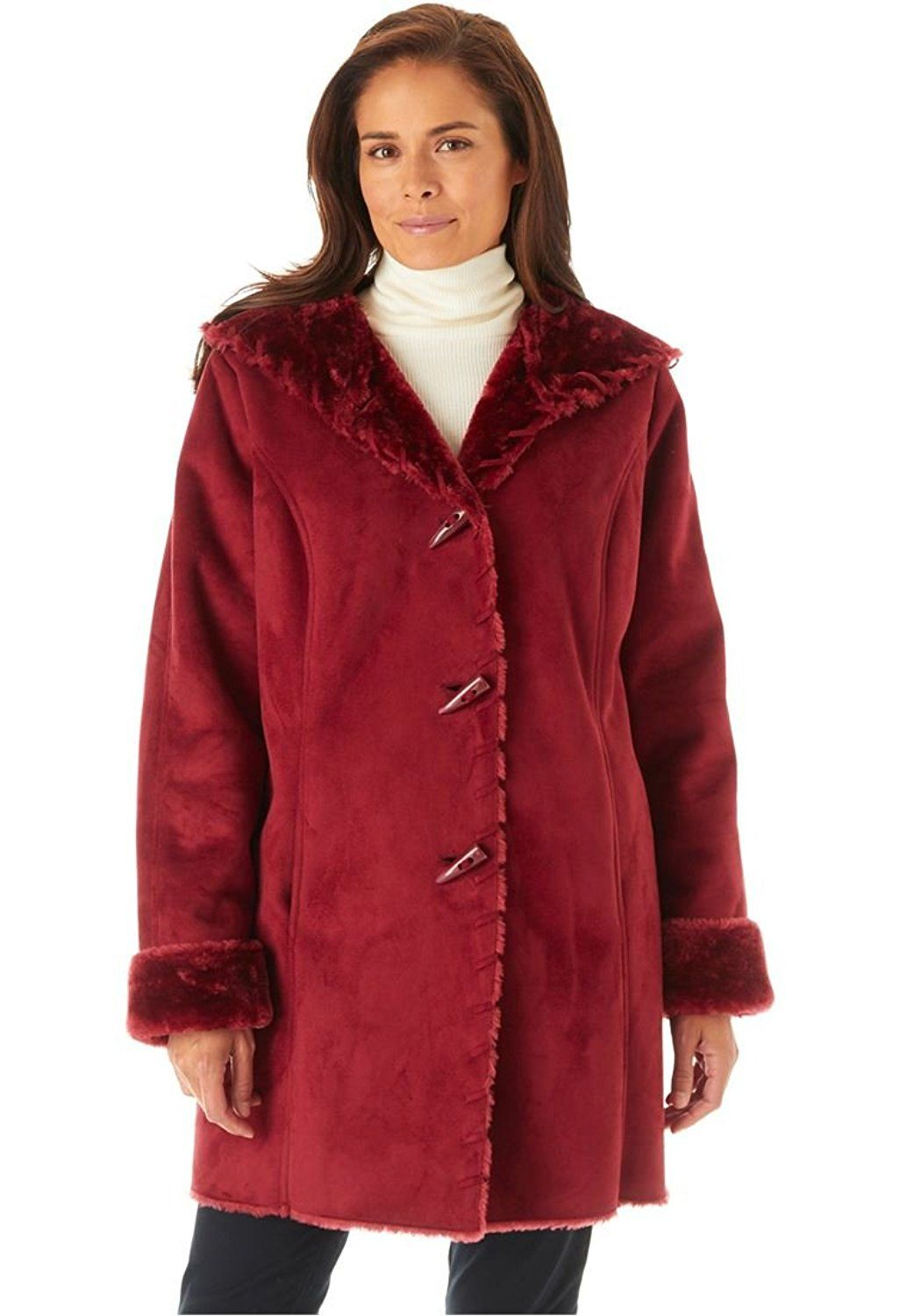 86e625f1fb848 Women s Plus Size Coat In Faux Shearling With Horn Toggle Closure ...